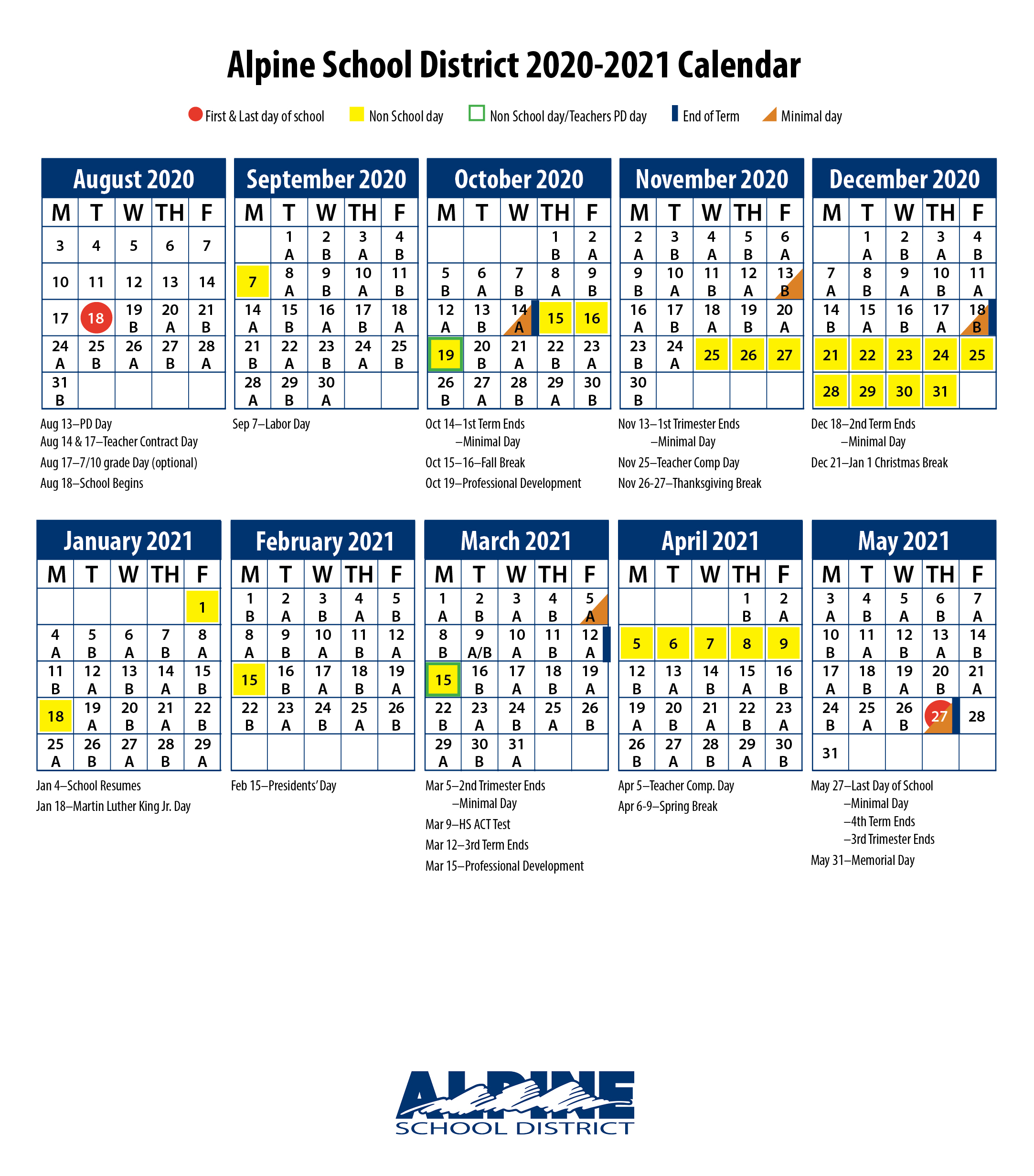 Alpine School District 2021 Calendar Oak Canyon Junior High – Home of the Eagles
